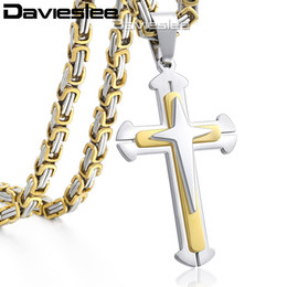 Mens Crosses Chains Australia - Cross Pendant Necklaces for Men Stainless Steel 3 Layer Knight Cross Mens Necklace Chain Silver Gold Black DDLKP179