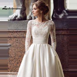 Yellow Satin Wedding Dresses Australia - Long Sleeve Wedding Dresses Turkey Scoop Satin Appliqued A-line Bridal Gown with Pockets Vestidos de Novia