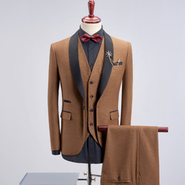 $enCountryForm.capitalKeyWord Australia - Men's Suit Three-piece Suit, Banquet Host Performance Gown, Groom Groomsmen Wedding Dress! Jacket + Vest + Pants Y190420