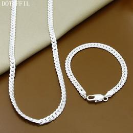 $enCountryForm.capitalKeyWord Australia - 925 Sterling Silver Necklace Bracelet Jewelry Set Cheap Bridal Party Sets Mens 6M Whole Sideway Fashion Silver Necklace