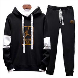 Wholesale new hottest hoodies online – oversize New Two Pieces Set Fashion Hooded Sweatshirts Sportswear Designer basketball Tracksuit Men Hoodie Autumn Men Hot Clothes Hoodies Pants Set