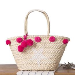 $enCountryForm.capitalKeyWord UK - 2019 Summer Beach Straw Tote Bags Handbags Women Famous Brand Designers Pompom Tote Shoulder Bag Ladies Casual Large Capacity Woven Handbag
