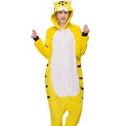 Tiger Woman Costume UK - Animal adult anime sets cartoon sleepwear women  flannel animal tiger spring 411186cb2