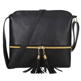 Genuine Leather Crossbody Handbags Wholesale UK - Women Genuine Leather Bags Tassel Crossbody HandBag Pure Color HandBags Female Bolsas Feminina Saco Ladies Fashion Brand