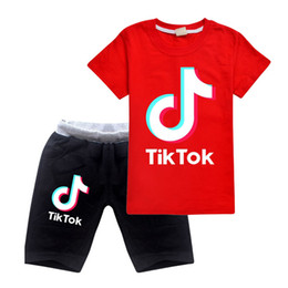 orange suits cotton Australia - Summer Tiktok Set For Big Boy Girl Outfit Clothes Fashion Kid Print Cotton T Shirt Tee+Shorts Pant 2PC Tracksuit Children Suit Clothing