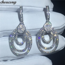 $enCountryForm.capitalKeyWord Australia - choucong Luxury Drop earring Pave setting Diamond s925 Sterling silver Engagement Wedding Dangle Earrings for women jewelry Free Shipping