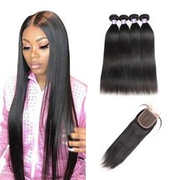 curly brazilian virgin hair wefts 2019 - Yaki Straight 4PCS with Lace Closure Malaysian Virgin Hair Wefts Brazilian Hair Indian Kinky Curly Hair Extensions Water