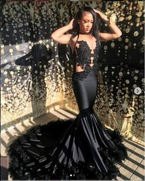 $enCountryForm.capitalKeyWord NZ - Feather Black Mermaid Prom Dresses 2019 New Sleeveless Sweep Strain Lace Applique Beading Formal Evening Dress Party Gowns