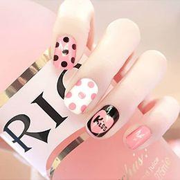 Discount patterned acrylic nail tips - 24 Pcs Fake Nails Girl Cute False Nail KISS Designs Pattern Unhas Press on Nails Dot Stripe Full Cover Short Natural Tip
