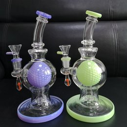 Wholesale Purple Glass Bong Dab Rigs Green Showerhead Percolator Glass Bongs Glass Water Pipes mm Bent Neck Ball Oil Rig With Bowl XL