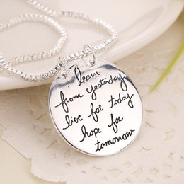 Necklaces Pendants Australia - 2018 New Fashion Jewelry Learn From Yesterday Live For Today Hope For Tomorrow Letter Pendant Necklace Gift For Women 2 Colors KKA6214