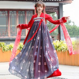 Chinese ladies Clothes online shopping - Hanfu Women Traditional Chinese Tang Dynasty Costume Fairy Princess Dress Folk Dance Performance Clothing Stage Wear Lady DN3603