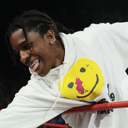 asap rocky sweatshirts hoodies NZ - Best Asap Rocky Joint Yellow Round Face Letter Printed Hooded Sweatshirt Classic Simple Pullover Street Sweater Hoodies Outwear HFHLWY077