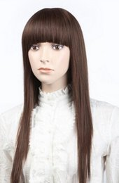 $enCountryForm.capitalKeyWord UK - WIG free shipping AZ90 Long Natural Brown Straight Hair Middle Lace Wigs Invisible Part Lace