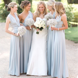 cheap casual white dresses Australia - New Light Blue Covertible Bridesmaid Dresses Pleated Floor length Country Beach Wedding Guest Party Gowns Cheap Long Prom Dress Y200109