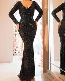 dc82dbf9e Vestidos de noche de baile de fin de curso de lentejuelas brillantes  negros