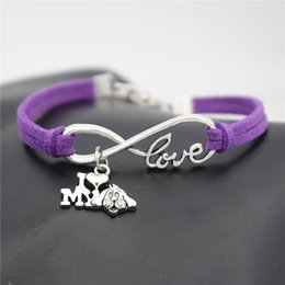$enCountryForm.capitalKeyWord NZ - 2019 New Bohemian Multilayer Silver Color Infinity Love I Heart My Dog Pendant Bracelet For Women Men Purple Leather Suede Rope Jewelry Gift
