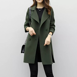 Wholesale Fashion Women Parka Autumn Winter Long Jacket Ladies Cotton Wollen Solid Casual Outwear Parka Casual Cardigan Slim Coat Overcoat
