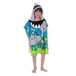 kids beach towel robes 2019 - Toddler Hooded Beach Bath Towel Shark Soft Swim Pool Coverup Poncho Cape For Boys Kids Children 1-12 Years Old Bath Robe
