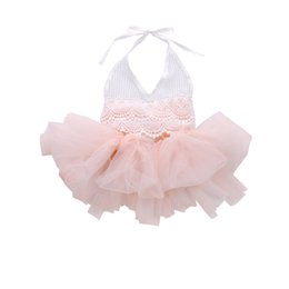 $enCountryForm.capitalKeyWord Australia - 2018 Lovely Sweet Princess Summer Romper Dress Infant Baby Girls Sleeve O-Neck Belt Lace Floral Tassel Pink Tutu Dress