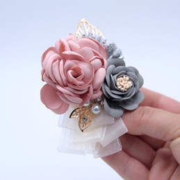$enCountryForm.capitalKeyWord Australia - Prom Cloth Rose Flower Brooch Party Flower Wedding Boutonniere Pink Bridesmaid Corsage Flowers For Marriage Accessories