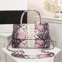 China Pink sugao luxury handbags designer tote bags women handbags shoulder bag crossbody handbag Python skin real leather bag new fashion bags cheap luxury python handbags suppliers