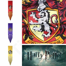 Discount cosplay flags - Harry Potter House Banner Flag Wall Hanging Stark Gryffindor Slytherin Hufflerpuff Ravenclaw College Flag Cosplay party
