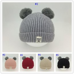 Discount childrens crochet hats - Warm Baby Pom Pom Hat Cute Kid Beanie Hats Childrens Comfortable Knitted Wool Winter Cap Baby Winter Hat MMA2727