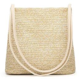 Woven Tote Bags Wholesale NZ - AUAU-Women's Handbag Fashion Beautiful Straw Woven Tote Large Summer Beach Shoulder Bag, Beige