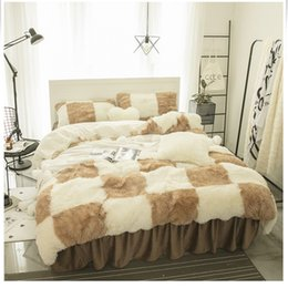 Black White Rose Bedding Australia - Solid Color Princess Bedding Sets Luxury Snow White lambs wool Bed Skirt Duvet Cover Bedspread Bedclothes Bed Linen Fitted sheet