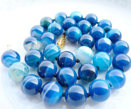 $enCountryForm.capitalKeyWord Australia - Necklace Hot sale fast Shipping>>12MM ANTIQUE ART DECO GENUINE RARE BLUE CHALCEDONY AGATE BEADS NECKLACE
