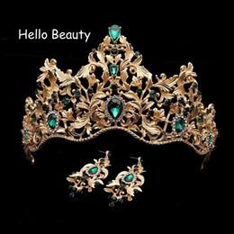 $enCountryForm.capitalKeyWord Australia - Baroque Vintage Green Rhinestone Wedding Bridal Princess Tiara And Crown Crystal Hair Accessories Queen Head Jewelry For Bride J 190430