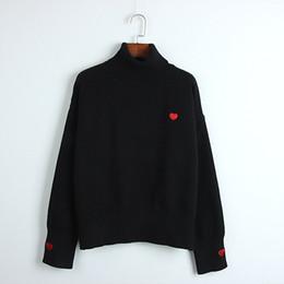 Venta al por mayor de Cuello alto bordado love sweaters net red womens sweater 2019 primavera y otoño nueva camisa de mujer ropa de mujer ropa de calle