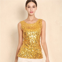 fbb12d1a6eb7d Sexy Sleeveless Tank Tops Sequined Vest Women O Neck Tank Tops Shirt Solid  Color Camis