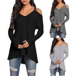 Jumpers Tops Ladies Australia - Womens T-shirt Long Sleeve Cold Shoulder Ladies Kintted Jumper Pullover Tops Autumn Spring New Fashion Women Clothes T-Shirts