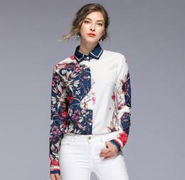 f541aceb9b1 Уникальный дизайн Цветочный Контраст Цвет печатных блузок с длинным рукавом  популярные женские рубашки Весна блузки с лацканами на продажу женские  рубашки