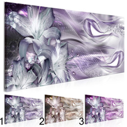 art painting purple flowers oils NZ - 1 Pcs set Diamond Flowers Purple Lilies Wall Art Decoration Abstract Modern Flowers Canvas Painting Gifts for Love