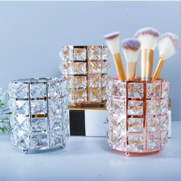 $enCountryForm.capitalKeyWord Australia - European style light luxury wind crystal pen barrel eyebrow pen cosmetic brush drum desktop storage and finishing of crystal candlestick