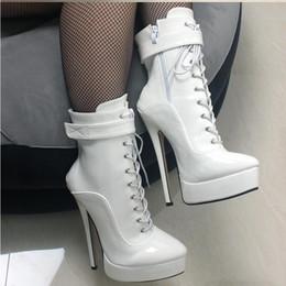 e2788b1dc Negro Blanco Nuevas Mujeres Zapatos PU Correa de Tobillo de Cuero Botas 18  cm   7