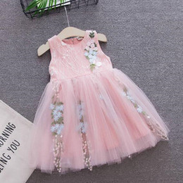embroidered tutu Canada - Girl Dresses Summer Fashion Embroidered Princess Sleeveless Dress 2 Colors Boutique Baby Clothes Vest Party Dresses