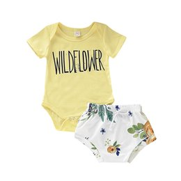 wholesale rompers bloomers Australia - INS Summer Toddler Baby Girls Suits Short Sleeve Rompers + Floral Straps Bloomers 2pieces Suits Cotton Back Buttons Kids Clothing Sets