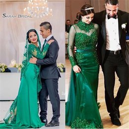 MerMaid wedding dresses high online shopping - 2019 Noble Green Long Sleeves Mermaid With Tulle Lace Sweep Prom Dress High end Customed Made Vestidos De Novia Party Gown