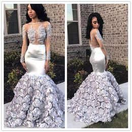 $enCountryForm.capitalKeyWord Australia - Sparkly Sheer Neck Sexy Mermaid Evening Dress with Appliques Blink Sequins Prom Gowns Long Sleeve Flowers Women Formal Party Dress