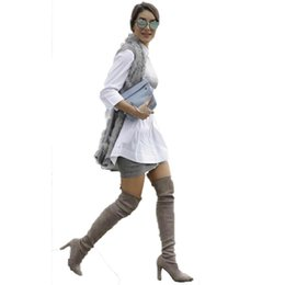 Brown Stretch Knee High Boots Australia - Women Faux Suede Thigh High Boots Sexy Stretch Over the Knee Boots High Heels Pointed Toe long Ladies Shoes Black Gray Red