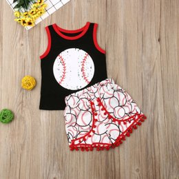 red baby vest NZ - 2PCS Set Toddler Baby Girl Boy Clothes Baseball Sleeveless Tops Vest Tassels Pants Summer Kids Outfits Set