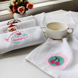 White Cotton Napkins Australia - Hot style original single design kitchen with white waffle embroidery cloth art napkin, tea towel