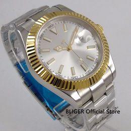 Glass Magnifier Gold Australia - 40mm No Logo Sapphire Glass Men's Watch White Dial Gold Bezel Date magnifier Automatic Movement Wristwatch