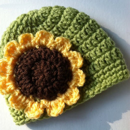 $enCountryForm.capitalKeyWord NZ - Adorable Sunflower Hat,Handmade Knit Crochet Baby Girl Green Beanie,Spring Hat,Infant Newborn Photo Prop