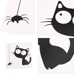 $enCountryForm.capitalKeyWord Australia - Funny PVC Wall Sticker Pattern Cat and Spider Toilet Sticker Mural decals For house decoration hotel decor 15X30cm
