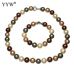 $enCountryForm.capitalKeyWord Australia - Charming Shell Jewelry Sets Fashion Loose Bead Pearl Bracelet & Necklace For Women Jewelry Accessories